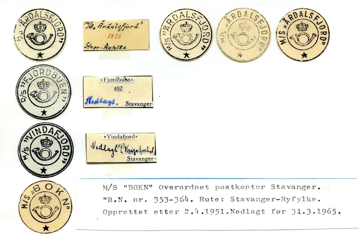 """Stempelkatalog. Ambulerende brevhus båt, M/B """"Årdalsfjord"""", D/S """"Fjordbuen"""", M/S """"Vindafjord"""", M/S """"Bokn"""","""