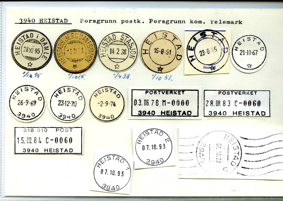 Stempelkatalog. 3940 Heistad, Porsgrunn postk., Porsgrunn kommune, Telemark
