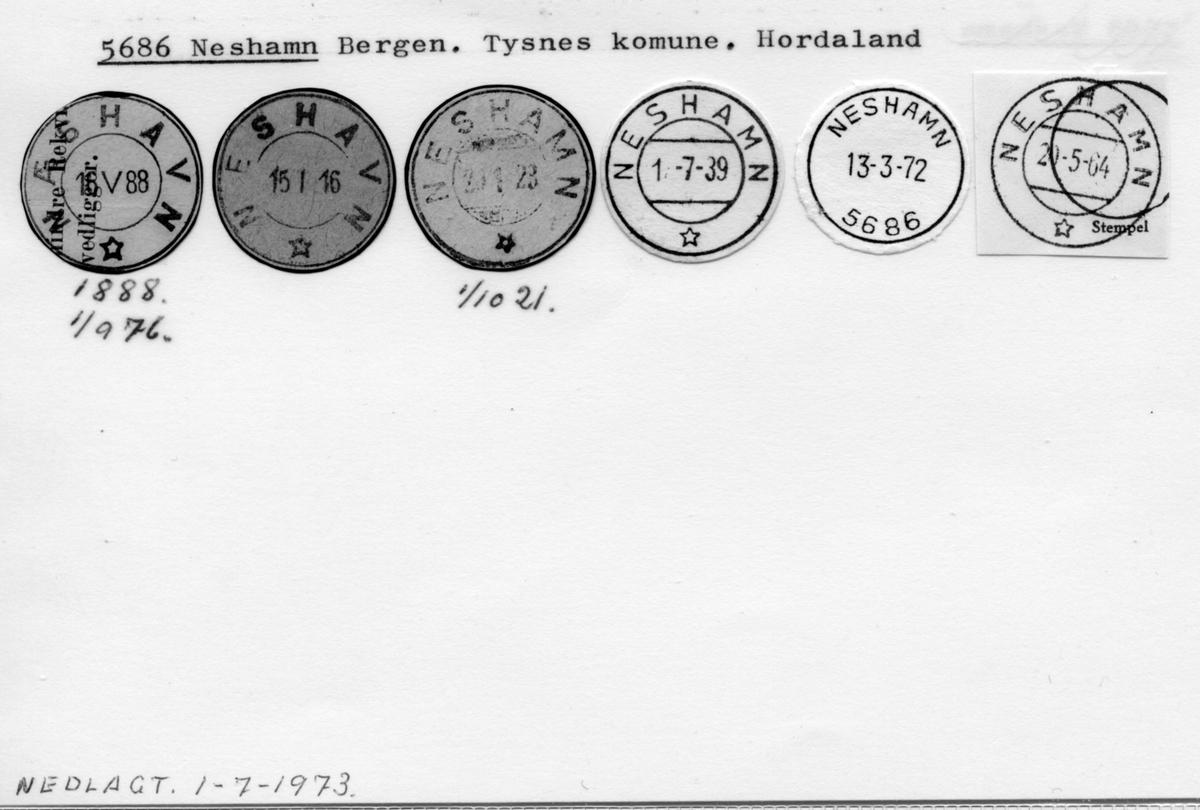Stempelkatalog. 5686 Neshamn. Bergen postkontor. Tysnes kommune. Hordaland fylke.