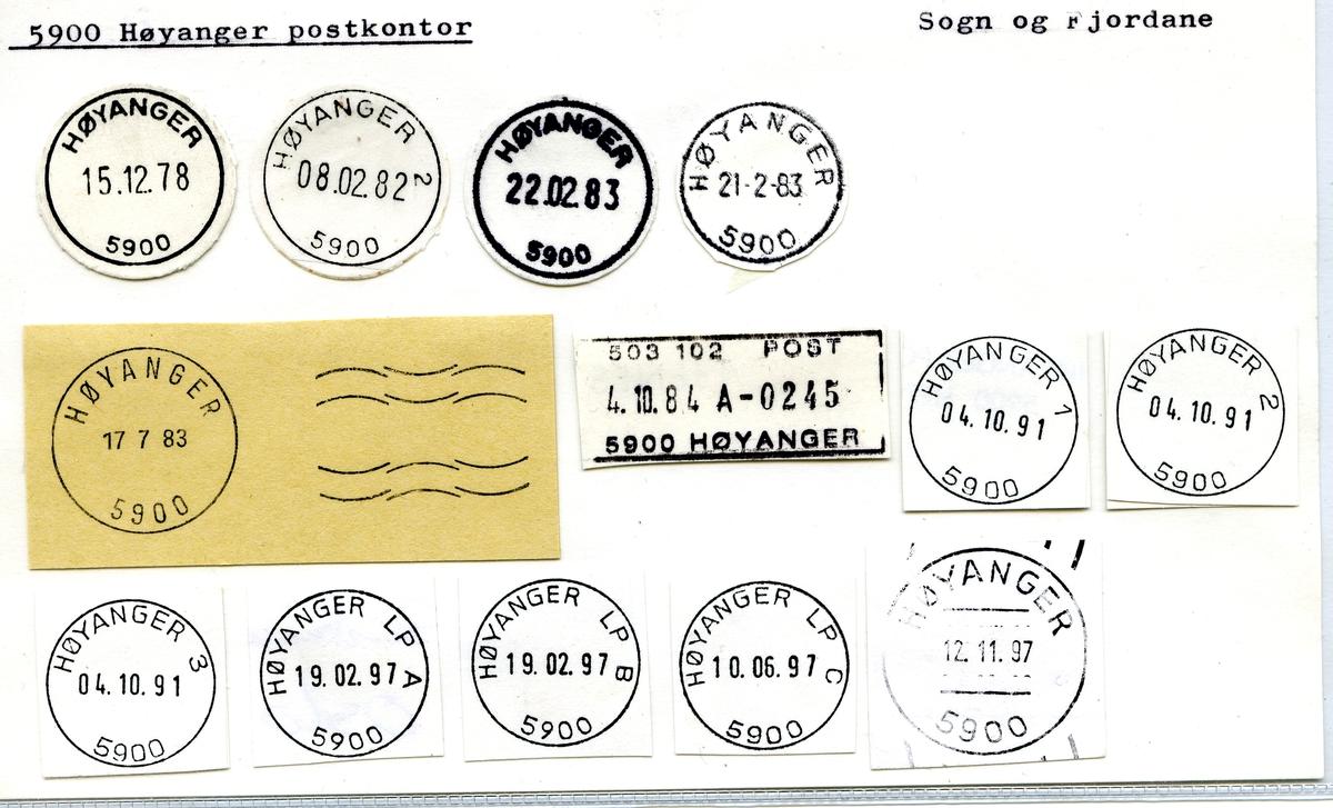 Stempelkatalog, 5900 Høyanger postkontor, Høyanger kommune, Sogn og Fjordane fylke.
