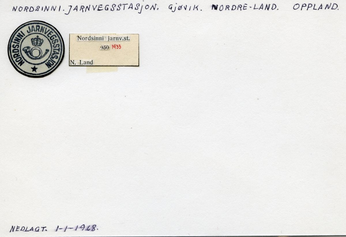 Stempelkatalog 2874 Nordsinni (Nordsinnen), Gjøvik, Nordre Land, Oppland