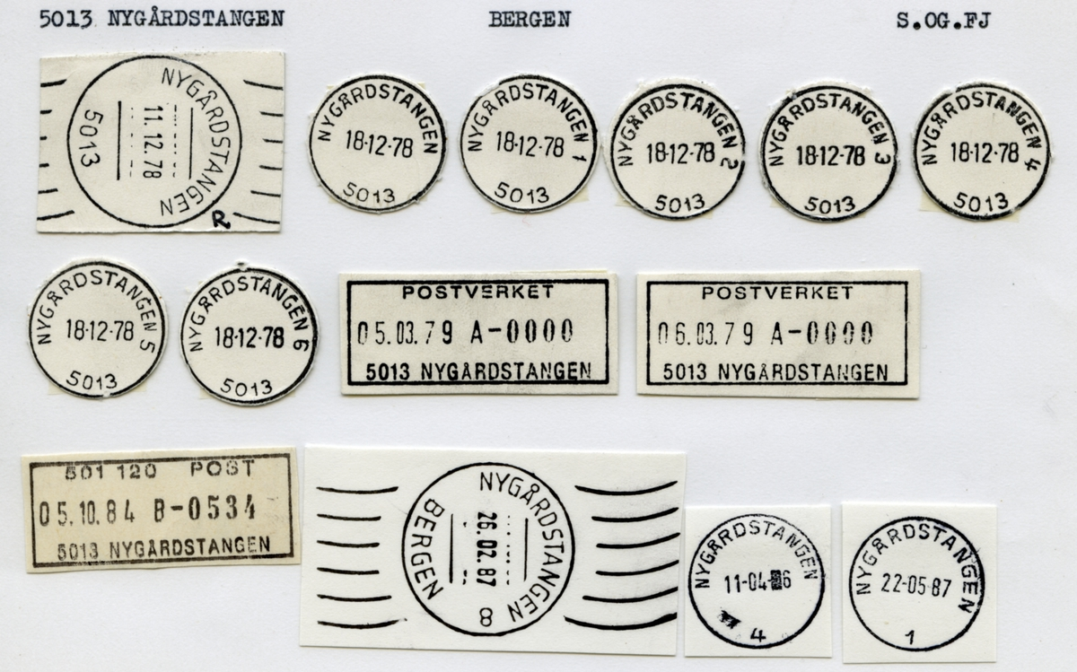 Stempelkatalog. 5013 Nygårdstangen. Bergen postkontor. Bergen kommune. Hordalnd fylke.