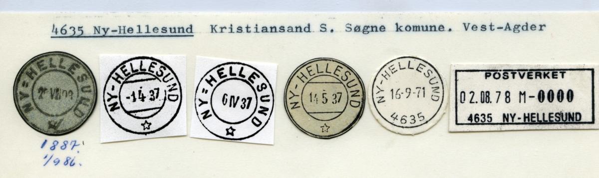 Stempelkatalog. 4635 Ny-Hellesund, Kristiansand, Søgne kommune, Vest-Agder