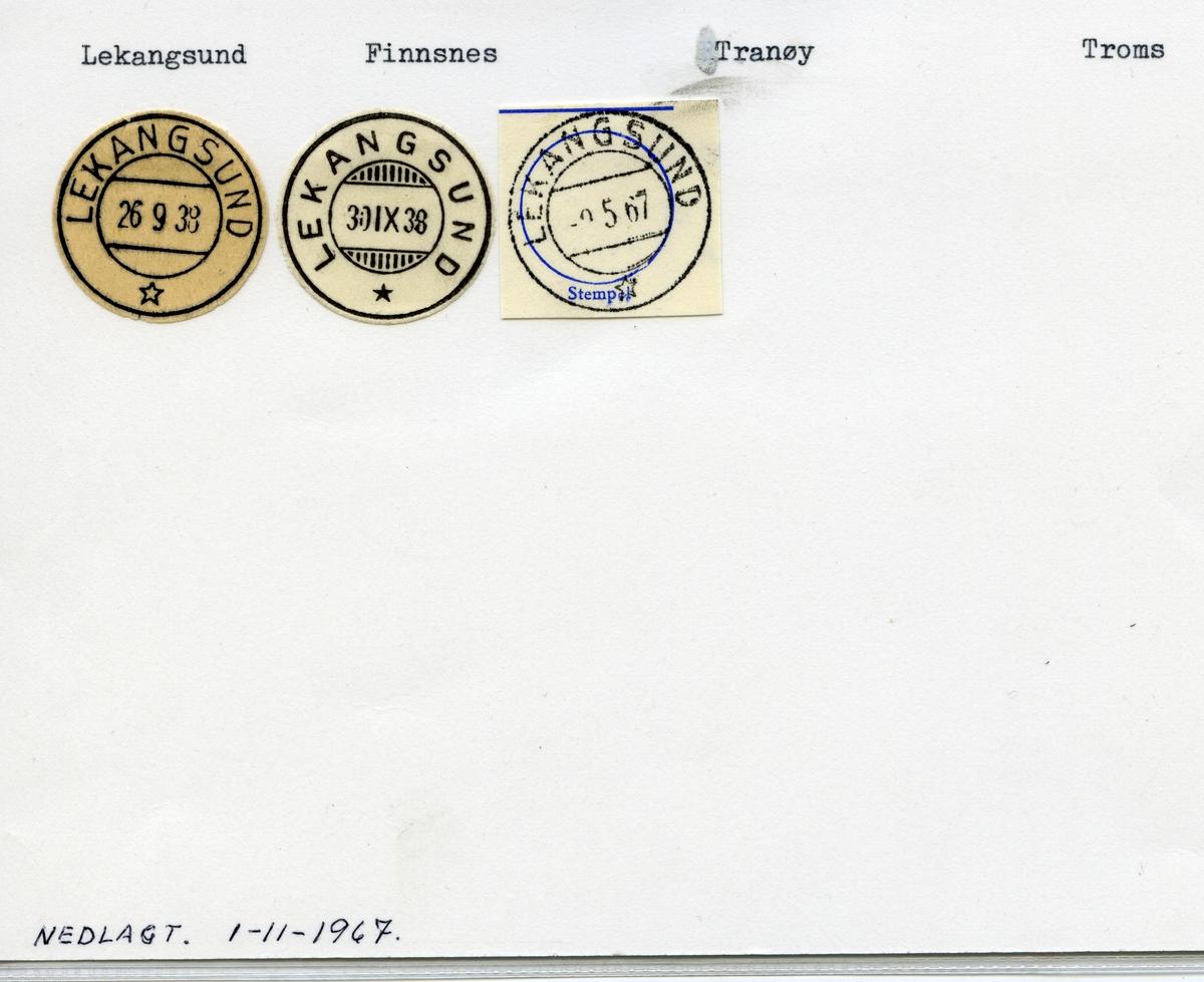 Stempelkatalog Lekangsund, Finnsnes, Tranøy, Troms