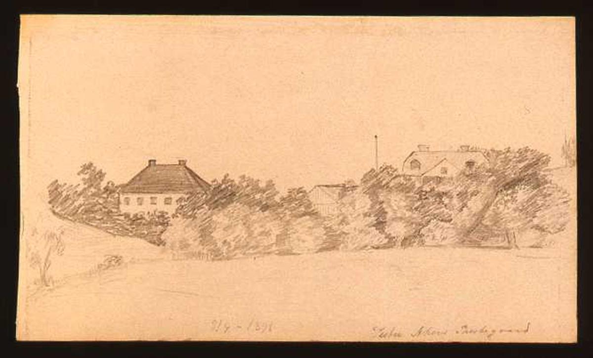 To store villaer omgitt av trær, den ene er Vestre Aker prestegård..