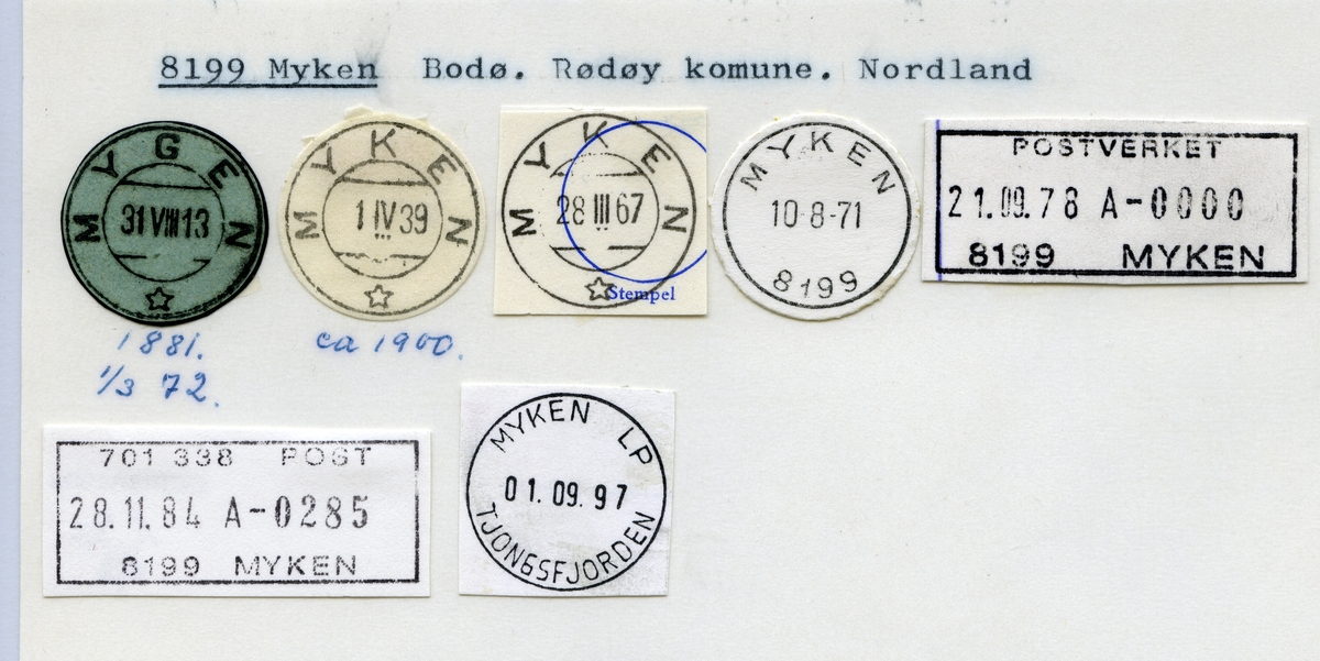 Stempelkatalog  8199 Myken, Rødøy kommune, Nordland