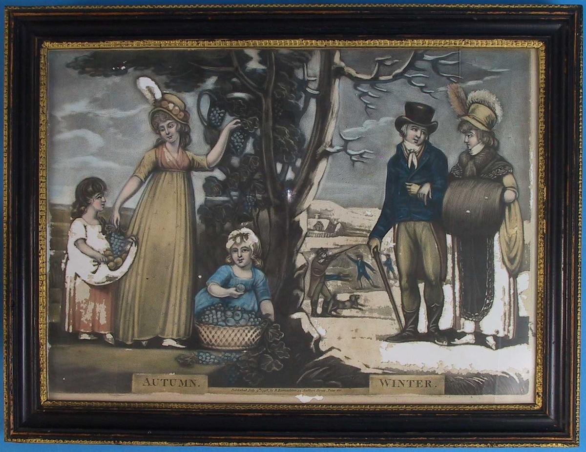 Årstidsbilde: Høst og Vinter. Pm. et sortstammet tre.  Tv. en stående kvinne i gul kjole med rosa bryststykke og hatt med rosa blomster langd bremmen, kurv som holdes av en liten pike tv. for henne. Ved treets fot en liten pike med en stor kurv med druer og plommer foran i høy hatt, blå jakke og brune benklær og halvhøye støvler. Hun th. i gult med sort forkle, enorm muffe, sk Innkrave, hatt med to store fjær v. Tv. for dem menn og en hun på jakt. Snedekket landskap med et hus i bakgr. tv.