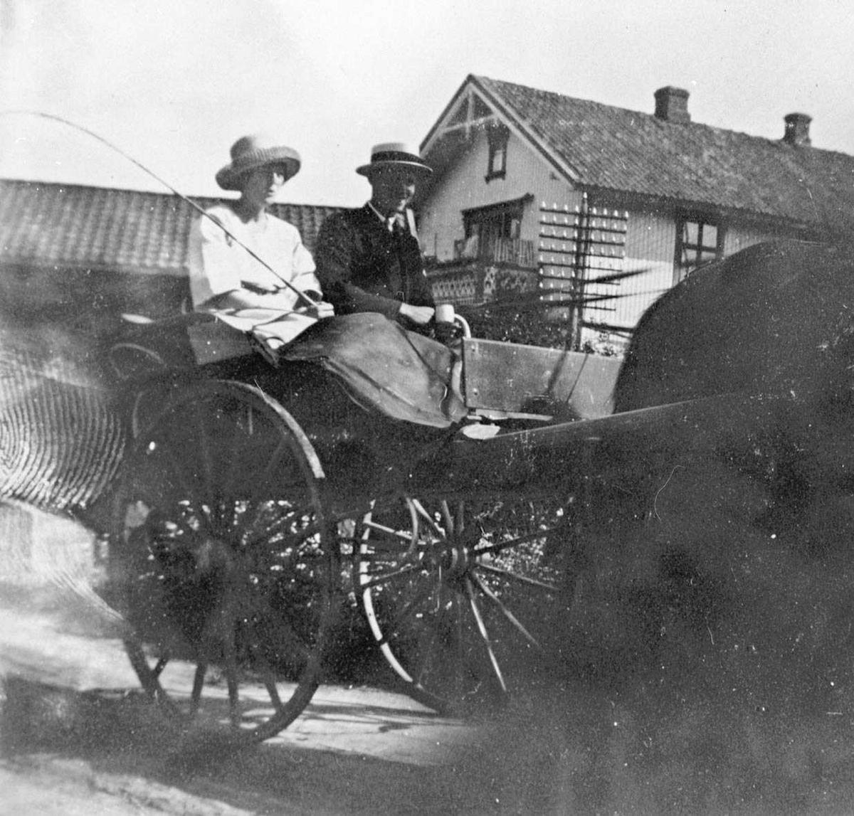 Lagertha Mørk (g. Veidal) og Anton Schou på kjøretur med hest og vogn.
