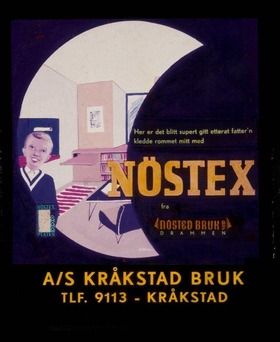 Kinoreklame fra Ski for Nöstex. Her er det blitt supert etterat fatter'n kledde rommet mitt med Nöstex fra Nosted bruk. A/S Kråkstad bruk