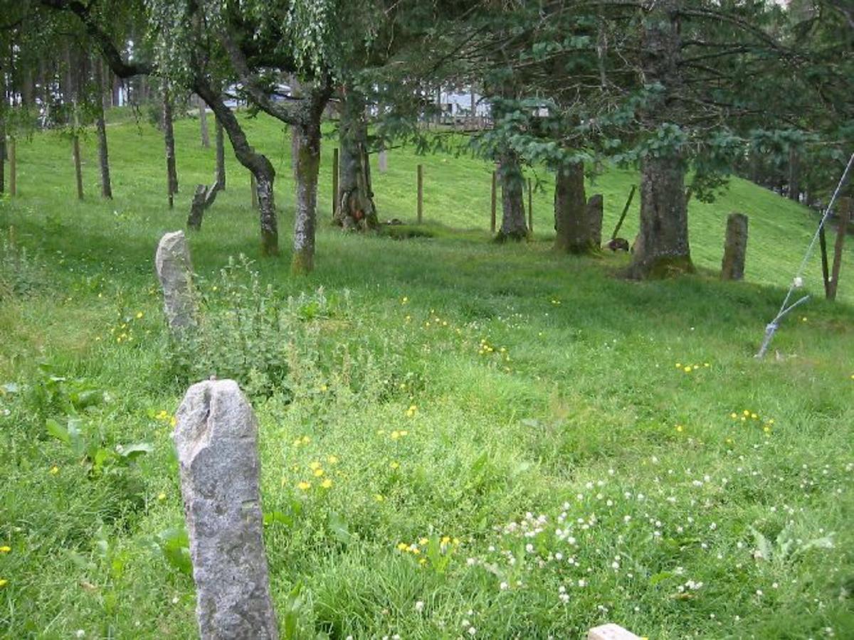 Planert område på 16 x 7 m. Omkranset av 10 hugde steiner på 15 x 15 x 90 cm høye. Område ligger vakkert til rett opp av vatnet ved veien til campingplassen. Kalles for Historisk gravplass.