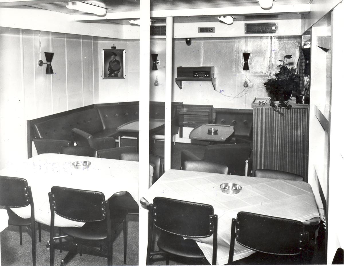 Enkeltbilde. Fregatten KNM Oslo, interiør fra kvartermestermessen 1966.