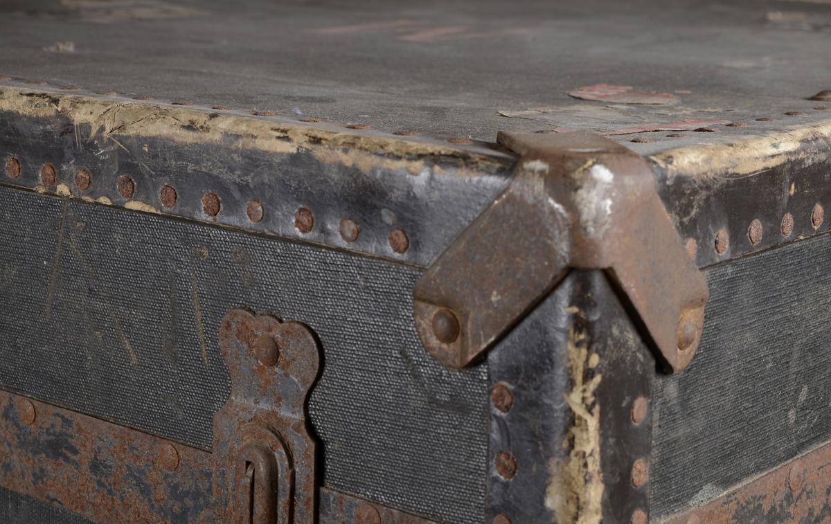 Firkantet resisekiste med hengslet lokk og to lærhåndtak. Forsterket med metall på hjørnene, og kraftig papp langs alle kanter, disse er festet med metallbolter. Usikker om kjernen er av tre eller kraftig papp. Belagt med vokset lerret  på utsiden, foret med gul bomullslerret på innsiden. I kisten ligger fire innholdsskillere av bomullsbånd og tre, disse er av tre forskjellige størrelser og har knapper slik at de kan festes i kisten. På kisten er det rester etter lapper fra  flere reiser. For eksempel Paris, Kjøbenhavn, London.