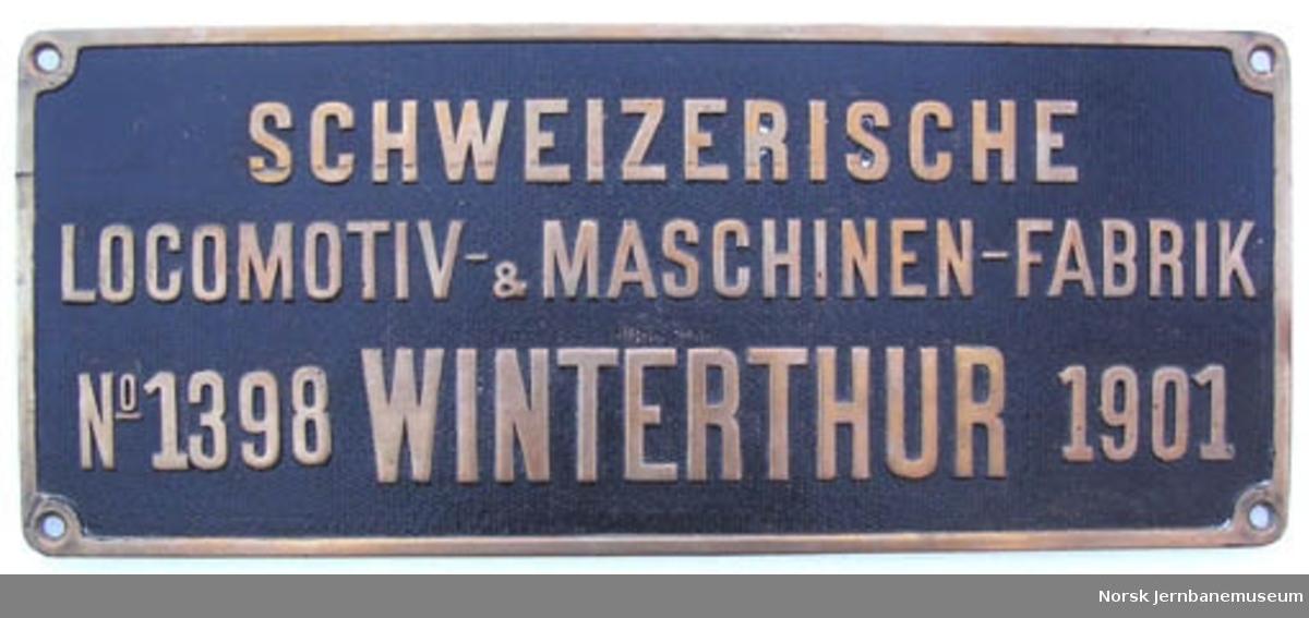 Fabrikkskilt fra Schweizerische Locomotiv- & Maschinen-Fabrik : fra NSB damplokomotiv