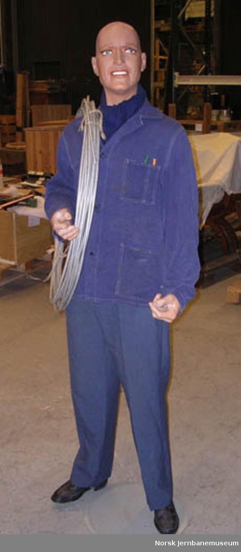 Dukke oppkledd som en elektromontør fra NSB med sykkel og nødvendig utstyr : dukke