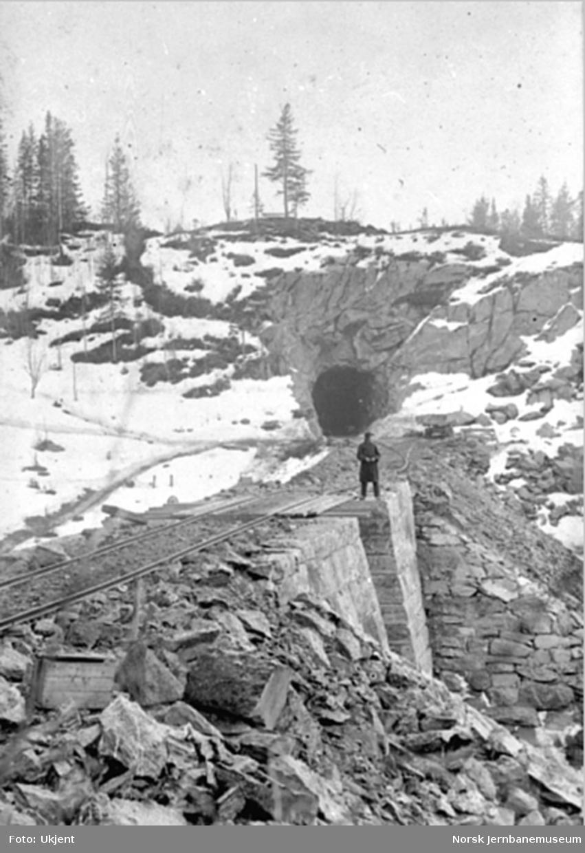 Ringsaker (Domstuen) tunnel sett nordfra med undergang i forgrunnen