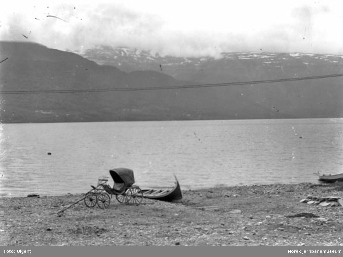 En firehjuls hestevogn og en båt ved Vangsvannet, Voss