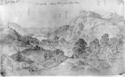 Arendal omegn, parti med Nidelva, blyantskisse av John Edy f