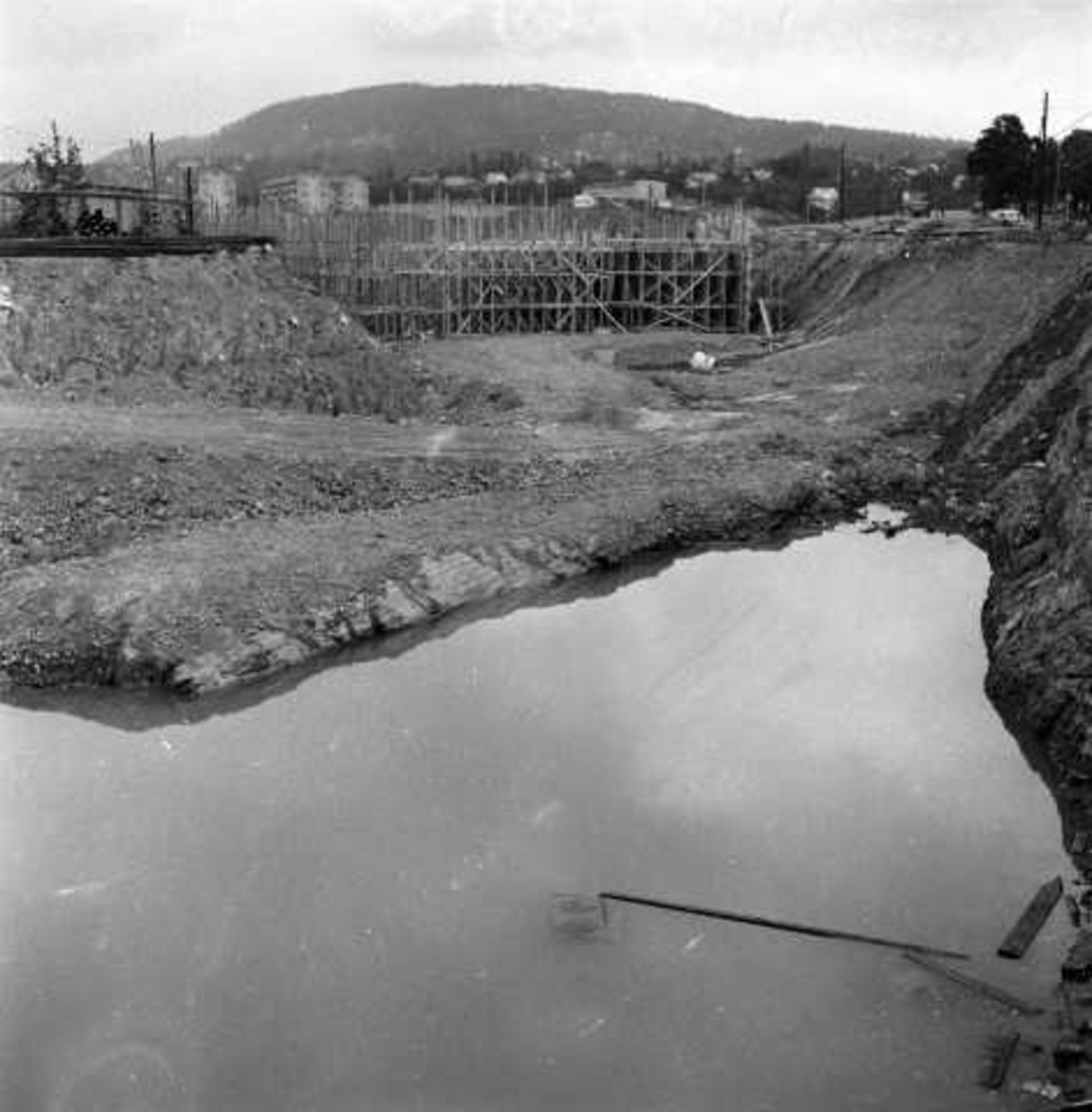 Sinsenkrysset, Oslo 1956. Under utbygging.