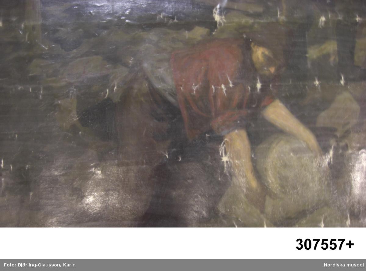 Gruvscen, underjordisk brytning med ca tio gruvarbetare