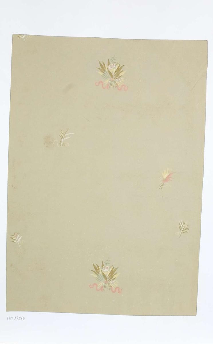 Tapetprov med tryckt mönster i beige, gult, vitt, grönt och rosa. Handskriven text på baksidan av kartongen: 212 Kv. Fågelsången nr. 2 b.v. Rum 14 1.