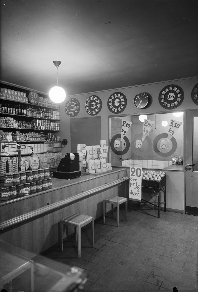 Interiör i Konsum-butik, sannolikt Uppsala 1936