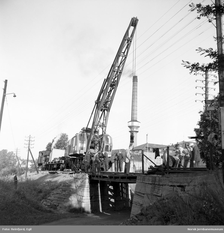 Skifting av vegundergang ved Melkefabrikken nord for Hamar stasjon : kranvognen
