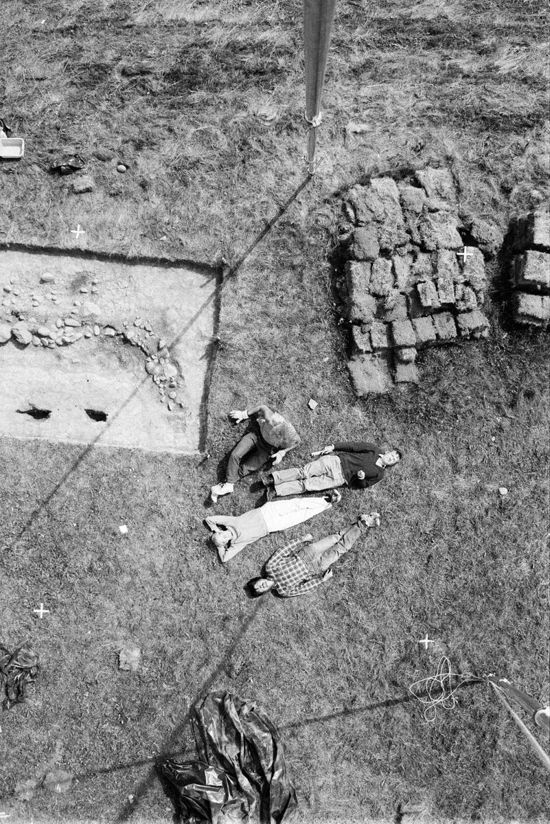 Lodfoto - Arkeologi Gamla Uppsala 1990