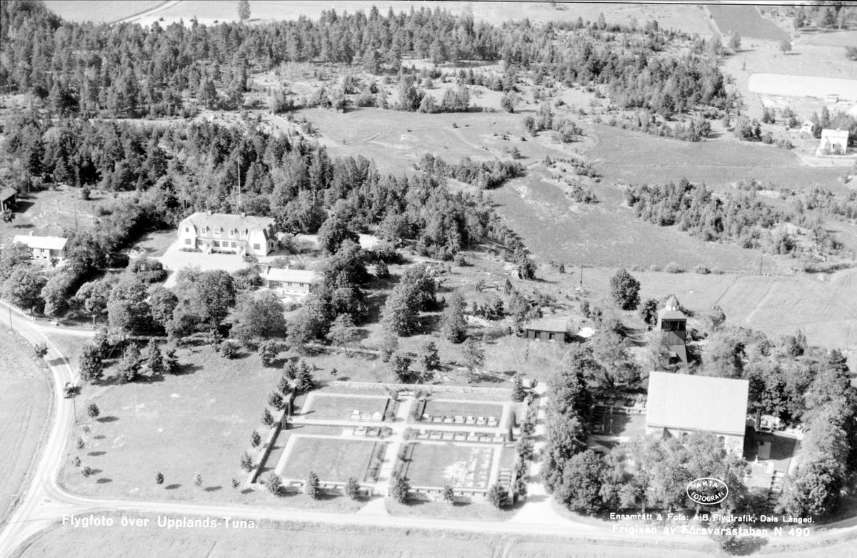 Flygfoto över Tuna, Tuna socken, Uppland 1952
