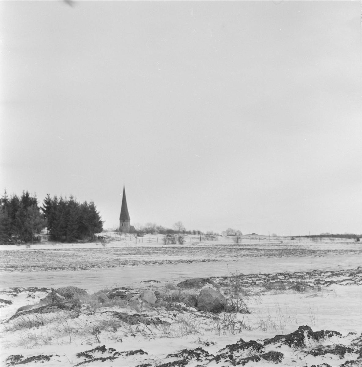 """""""Waksala vandring första gången"""" - vy över Vaksala kyrka, Uppsala 1965"""