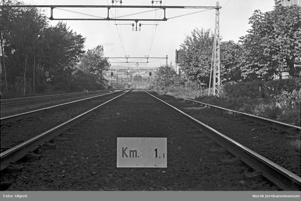Hovedbanen : linjeføring km 1,1