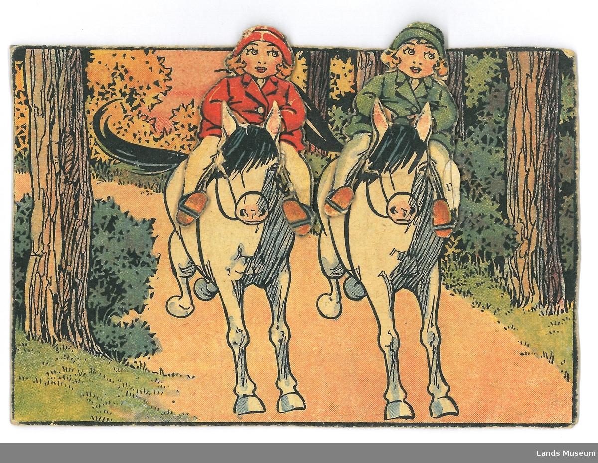 To jenter på hesterryggen.