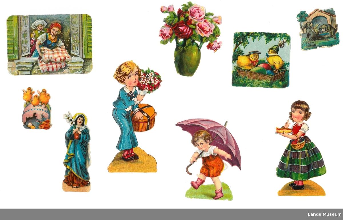 Samling av glansbilder med påske og vårmotiv.  A- hushjelp som rister fjærdyne, rektangulært, 6 x 8,5 cm B- jente i blå dress med blomsterbukett, 11 x 5 cm C- røde roser i grønn vase, 6 x 7,5 cm D- Kyllinger i kurv med fargerike egg, kvadrat, 5,5 x 5,5 cm E- to kvalper foran hundehus, 4 x 4 cm F- påskekyllinger på rosa egg, 3 x 4 cm G- dame i blå kjortel med blomstergren, 8 x 3 cm H- gutt med lilla paraply, 8 x 6,5 cm I- jente med kurv og kake, 9,5 x 5 cm