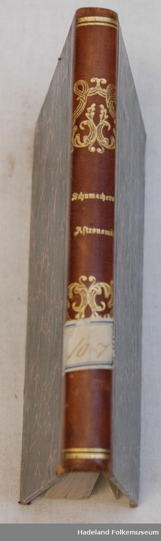 Gullpreget skinnrygg. Marmorerte kartong-permer m. skinnhjørner.