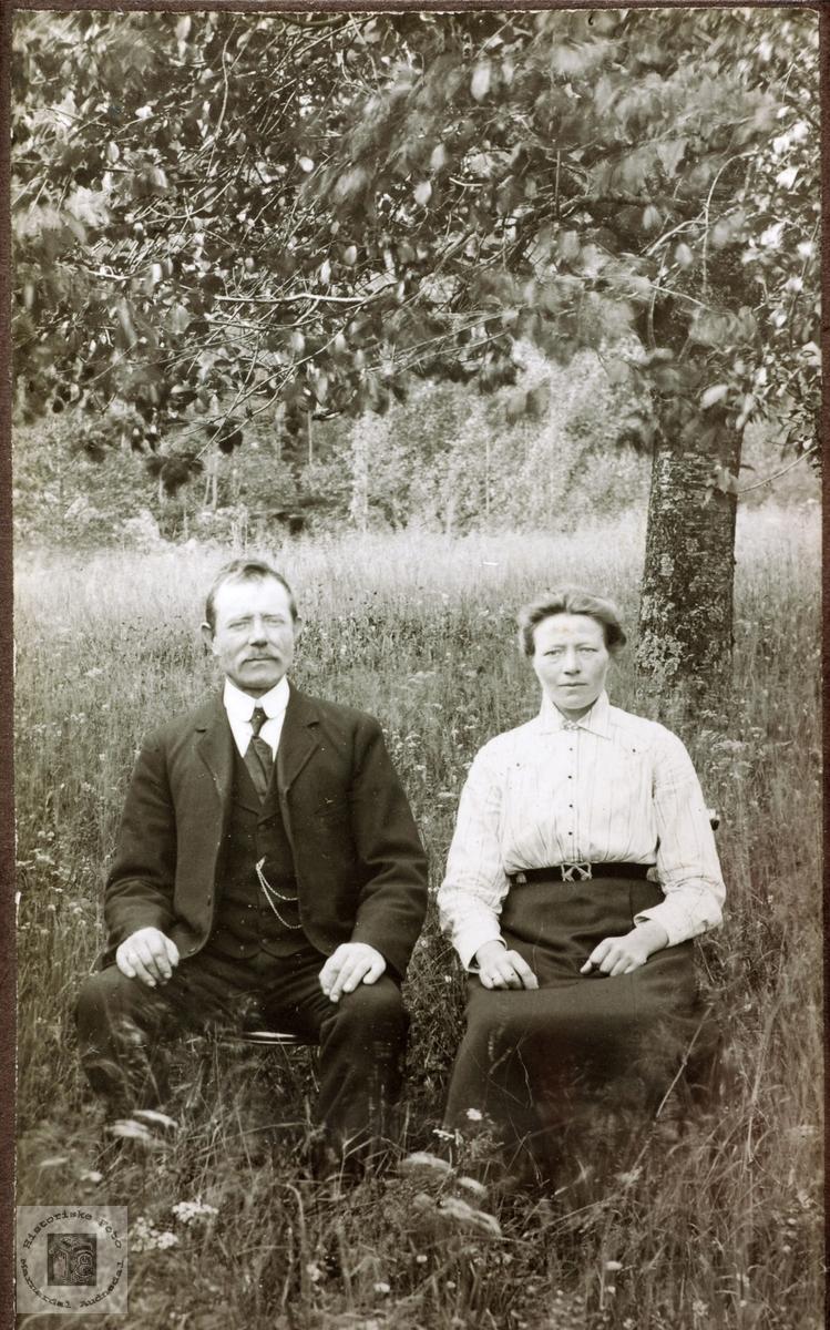 Portrett av ekteparet Torkel og Grethe Høyland. Grindheim Audnedal.