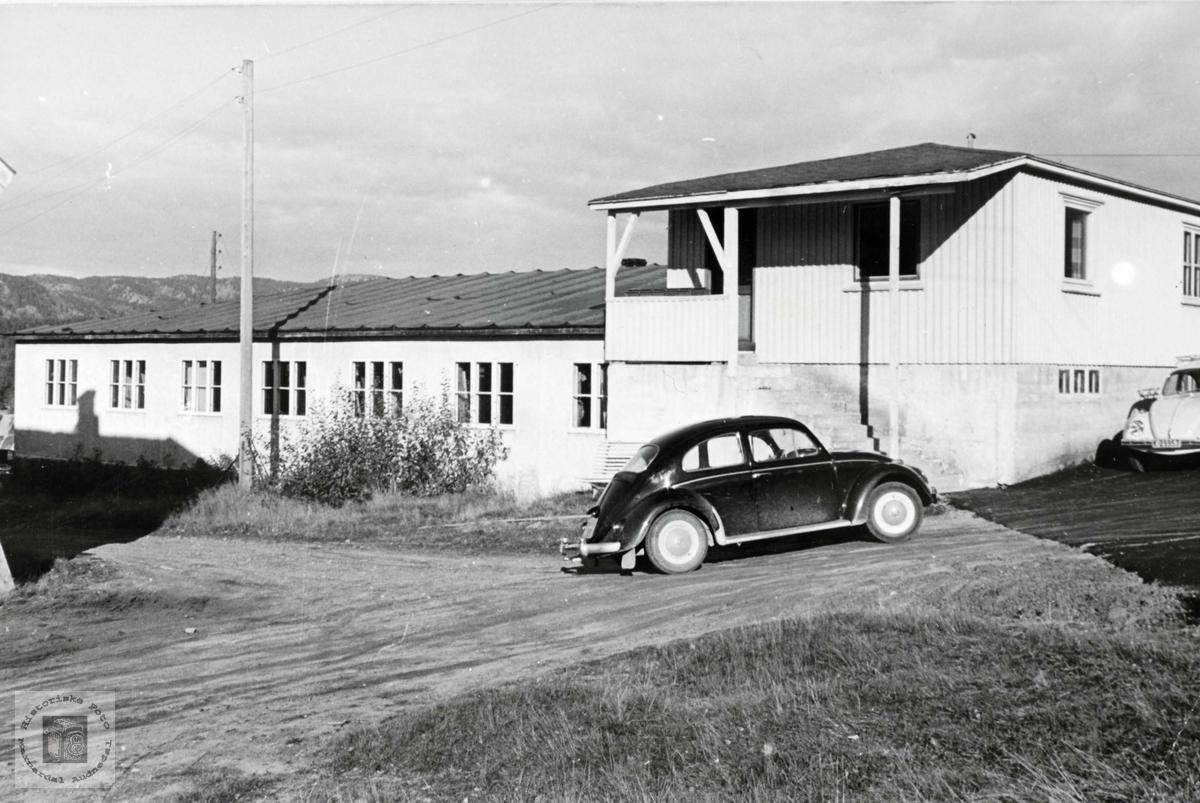 Verkstedbygningen til Lunden snekkerverksted. Sveindal Grindheim Audnedal.