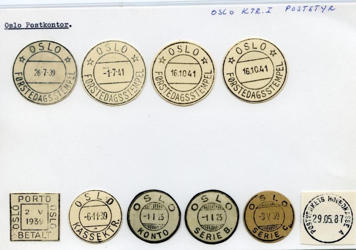 Stempelkatalog  Oslo, Oslo postkontor (Ktr. i Poststyret)