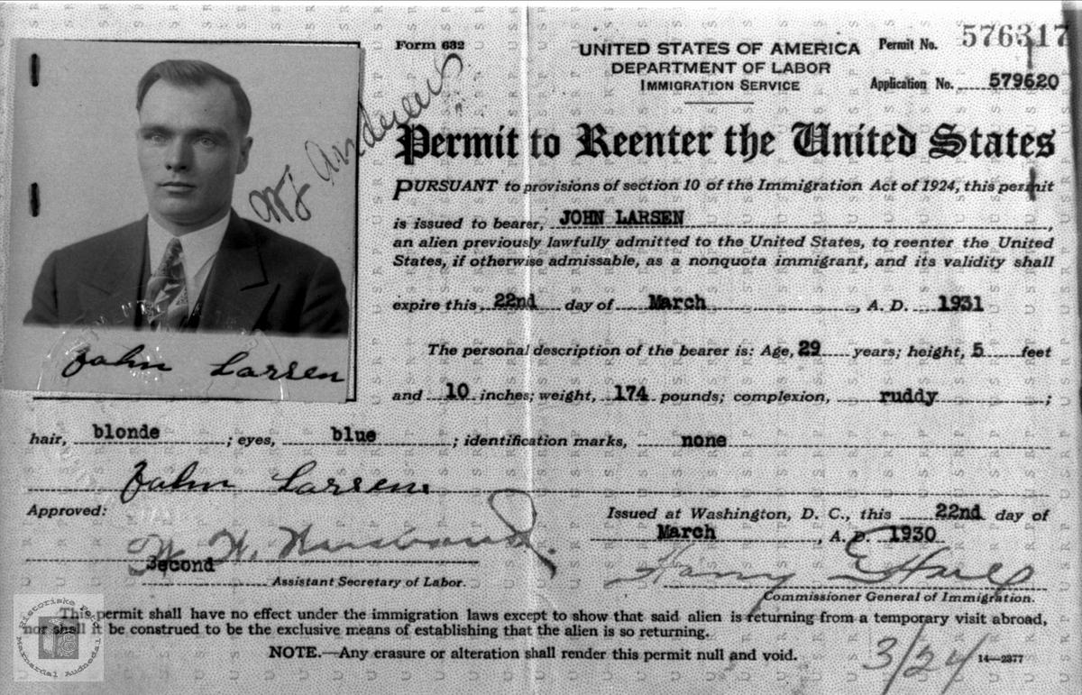 Adgangsbevis til USA for John Larssen Aagset, Laudal.