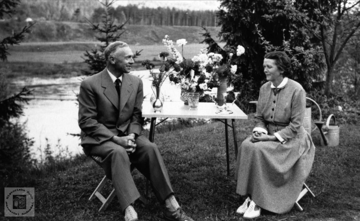 Sølvbrudepar. Torstein og Betzy Rosenvold. Laudal.