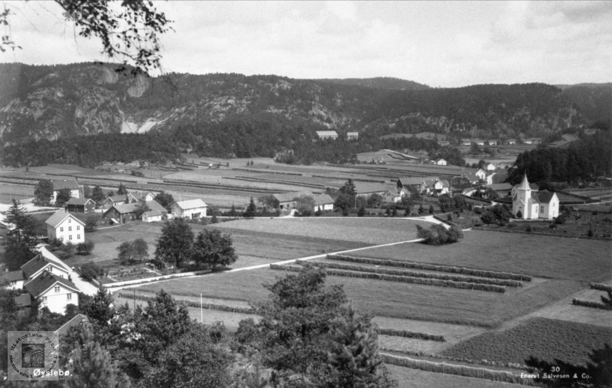 Øyslebø garden sett fra vest mot øst. Marnar Folkehøgskole Høgtun i bakgrunnen.