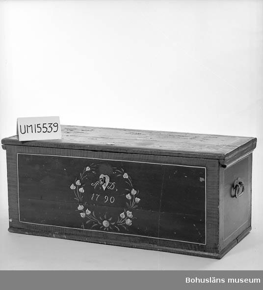 """Rektangulär med platt lock och handtag på sidan. Läddika saknas inuti. Målad dekor från 1930 av bygdemålaren Sundgren. Hörn och kanter i ådringsmålning, som omger blågröna fält med blommotiv. På locket texten """"E.A. 1930"""" och på framsidan """"A.D.1790"""". Rombformad nyckelskylt. Handtag och nyckelskylt är sekundärt målade med silverfärg. Färgskiktet har krackelerat på locket. Sundgren d.1946, 64 år gammal och var bosatt i Gunneröd Skredsviks sn."""