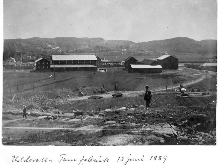 """Text på kortet: """"Uddevalla Tunnfabrik 13 juni 1889""""."""