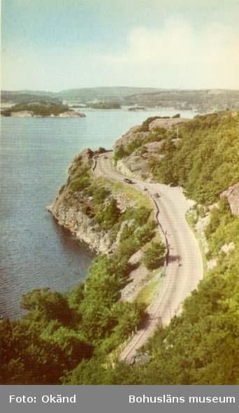 """Tryckt text på kortet: """"Uddevalla. Göteborgsvägen."""" """"Ensamrätt: A.B. Högströms Pappersaffär, Uddevalla."""""""