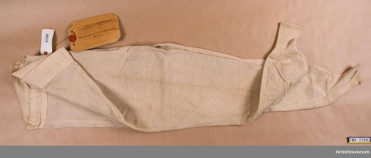 Kalsonger m/1901, armén.Grupp C I. Bomull, trikåstickade.