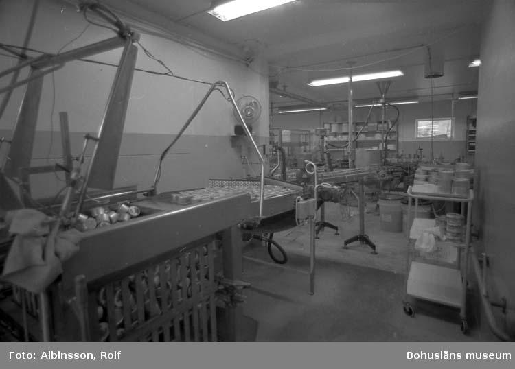 """Enligt fotografens noteringar: """"Här kommer färdiga helkonserver som lägges i rullande tråg för vidare transport till autoklaven."""" Fototid: 1995-11-16."""