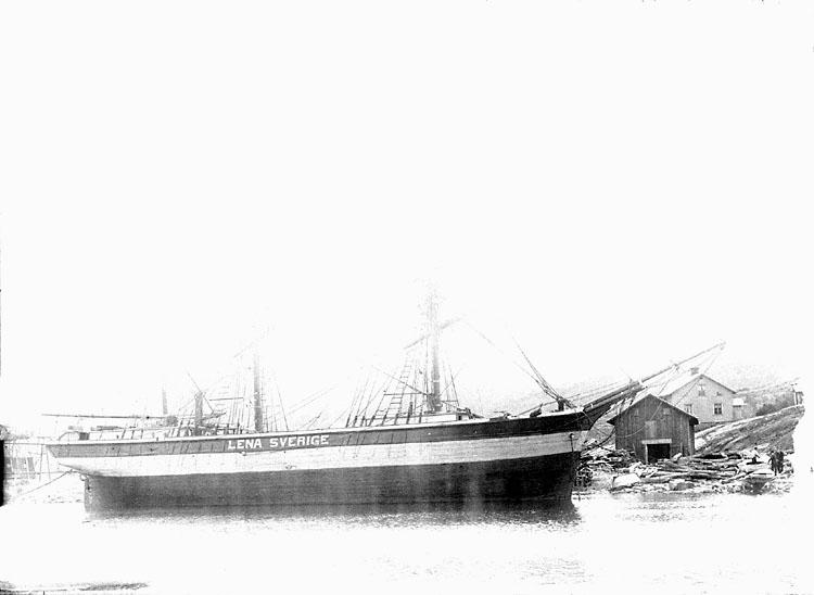 """Enligt senare noteringar: """"Tremastade barken Lena av Sverige."""""""