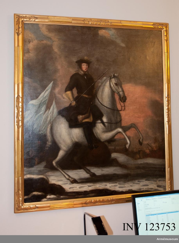 Oljemålning föreställande Karl XI till häst i Lund.