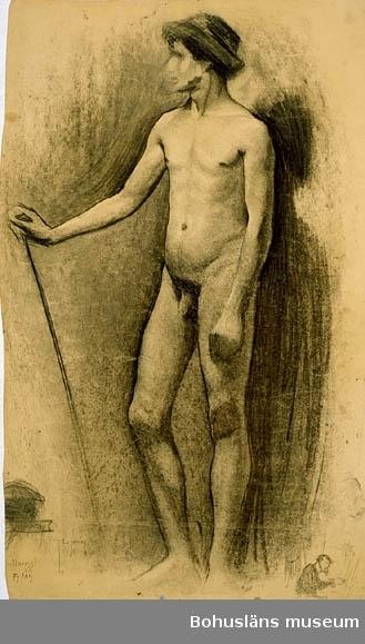 """Montering/ram: Omonterad, """"Stående man med hatt på huvudet och käpp i handen."""" Tillkomstort Collarossi, Paris. För uppgifter om konstnären Ragnar Ljungman, se RL001."""