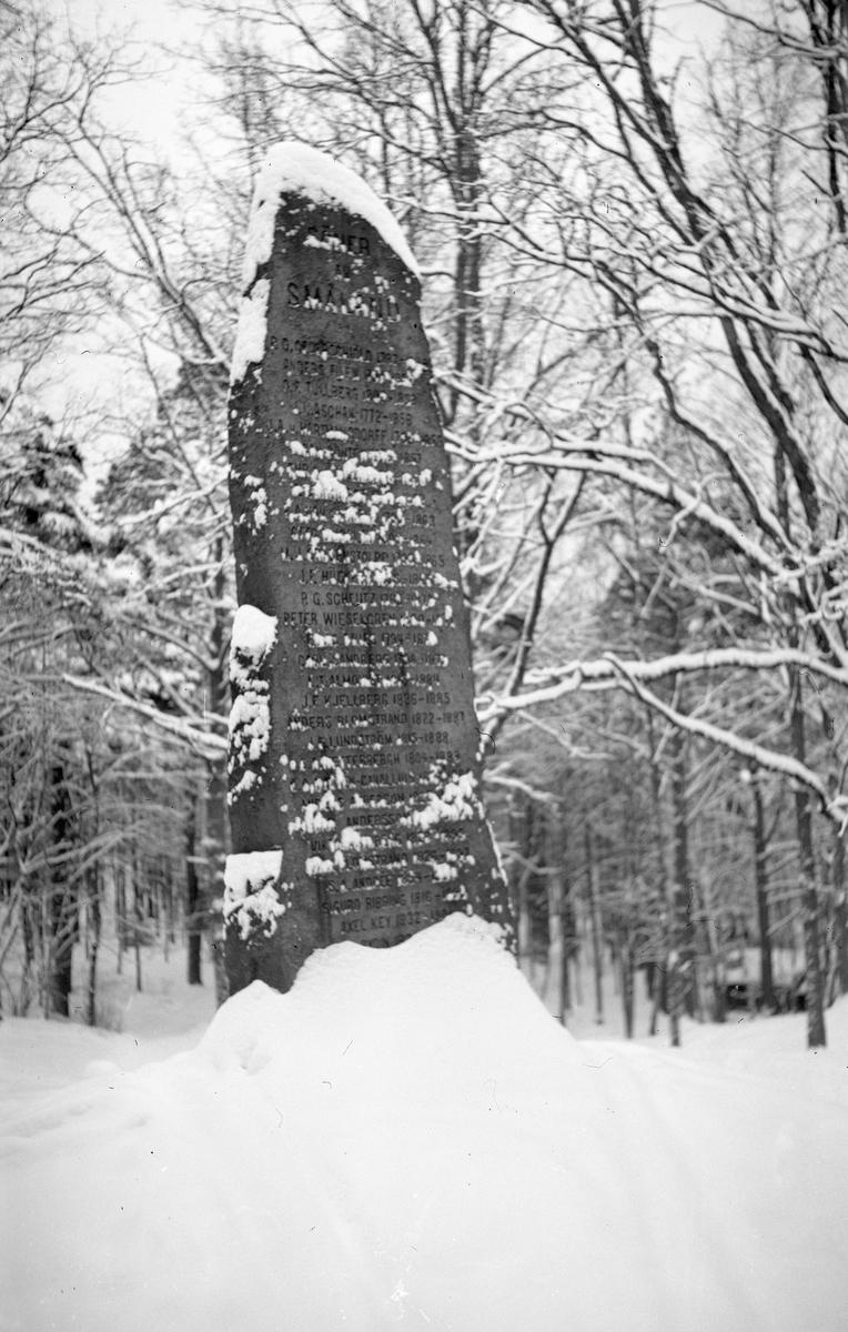 """Smålandsstenen i Jönköpings Stadspark på vintern. År 1907 avtäcktes stenen """"Söner av Småland"""" i Stadsparken. På stenen finns 65 namn på kända (och vissa halvkända) män som är födda i Småland."""
