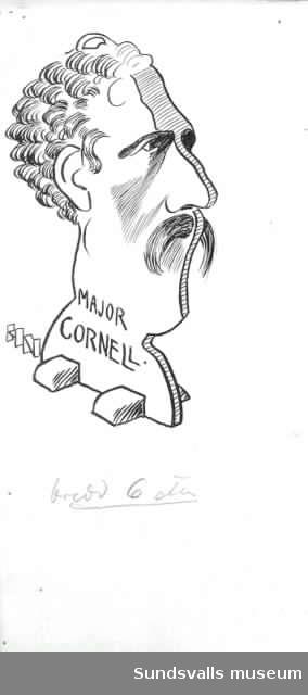 Major Johan Fredrik Cornell. Tuschteckning. På baksidan står Strix 1903.