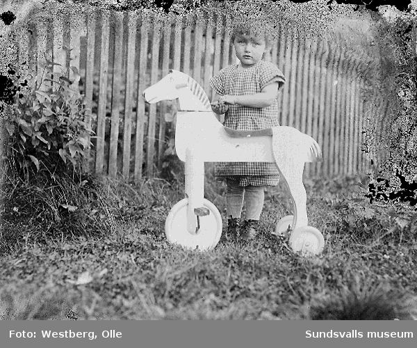 Anne-Marie Westberg, dotter till Linnea och Olle Westberg, med hjulförsedd leksakshäst i trädgården.